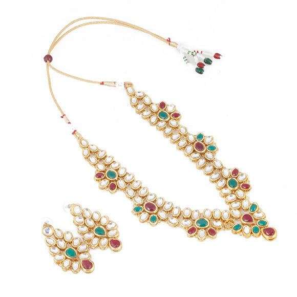 Gold Plated Green and Maroon Kundan Necklace with Earrings