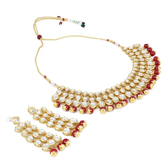 Traditional Maroon Gold Plated Kundan Necklace Set with Earrings