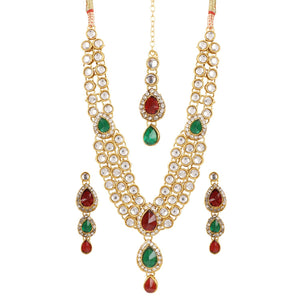 Traditional Green and Maroon Gold Plated Kundan Necklace with Earrings
