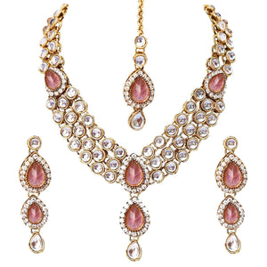 Traditional Pink Party Gold Plated Kundan Necklace Set with Earrings