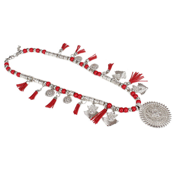 High Finished Red and Silver Beads Necklace