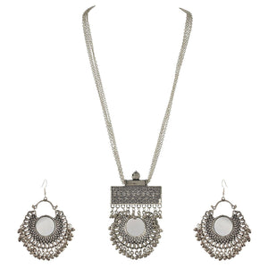 Designer Afghani Turkish Style Oxidised German Silver Chandbali Pendant Necklace Set