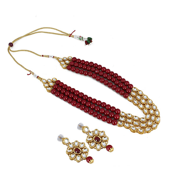 Traditional Designer Maroon Beads Kundan Necklace Set with Earrings
