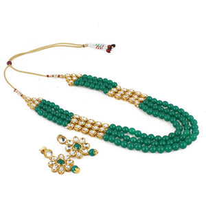 Three Layer Gold Plated Green Kundan Necklace Set with Earrings