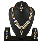 Traditional Layered Gold Plated Kundan Necklace Set with Earrings