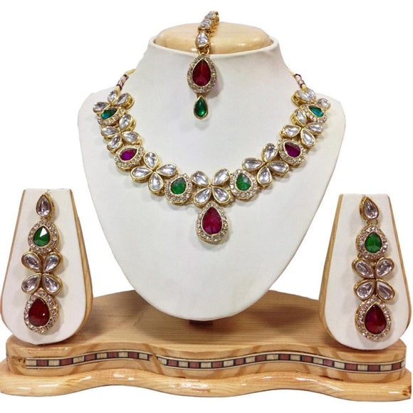 Traditional Gold Plated Kundan Necklace Set with Earrings
