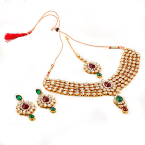 Designer Kundan Necklace Set with Earrings