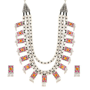 Designer Multi Layer German Silver Oxidized Necklace Set with Earrings
