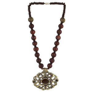 Brown Wooden Acrylic Beads Strand Necklace Earring Set