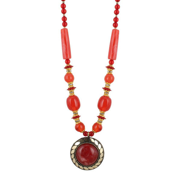 Fashion Pendant Necklace with EarringTibetan Style Beads