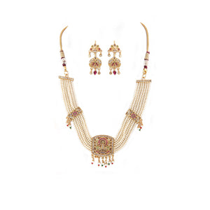 Off White Gold-Plated Jadau Choker Necklace Set with Earrings