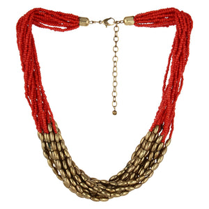 Red Plastic Beads Necklace