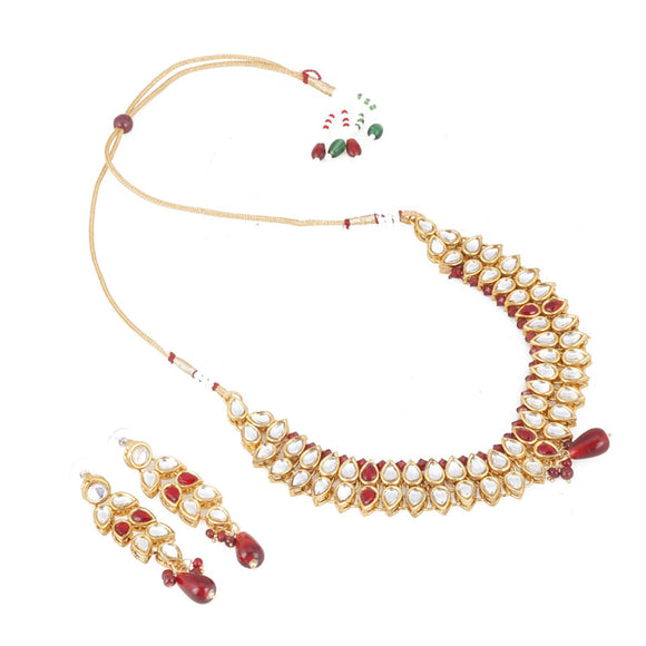 Elegant Bollywood Inspired Ethnic Kundan Necklace with Earrings