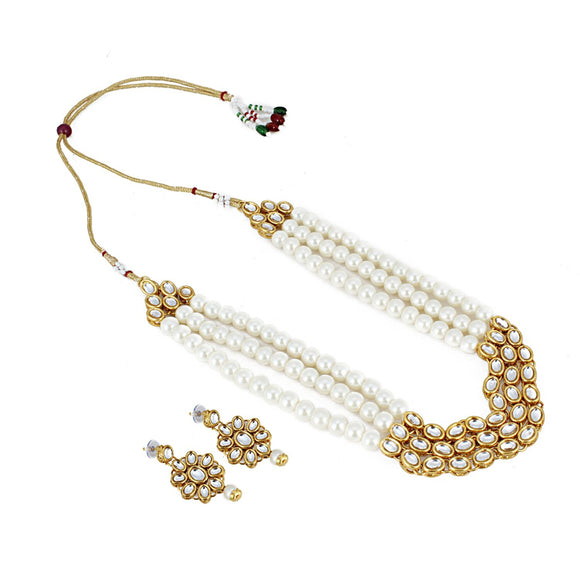 Three Layer White Pearl Gold Plated Kundan Necklace Set with Earrings