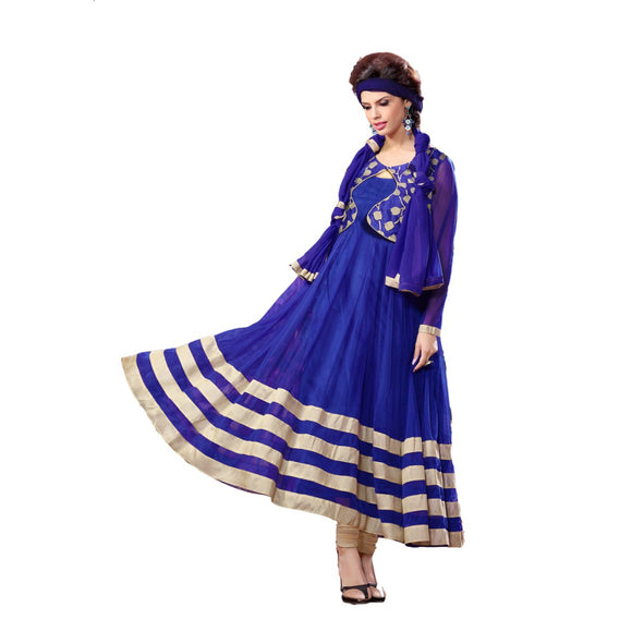 Brasso Net Fabric Blue Color Long gown
