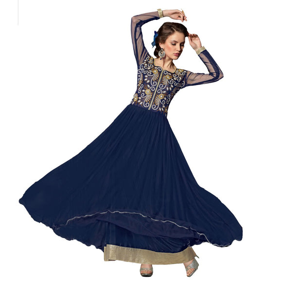 Net Fabric Dark Blue Color Long Gown