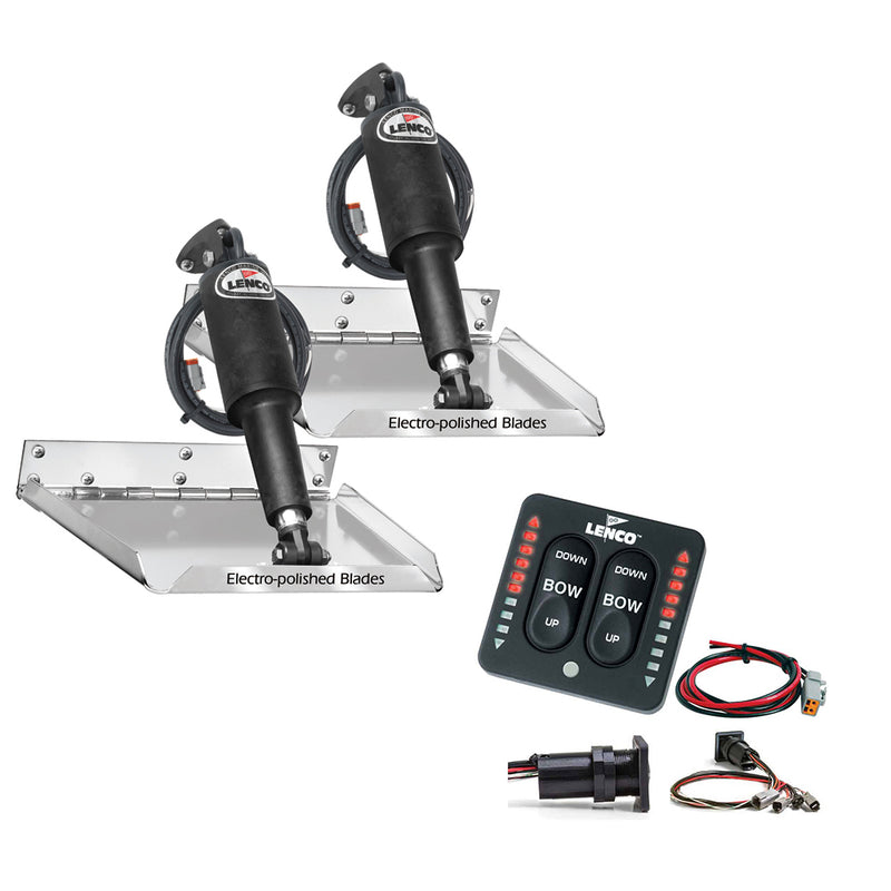 "Lenco 9"" x 9"" Standard Performance Trim Tab Kit w/LED Indicator Switch Kit 12V"
