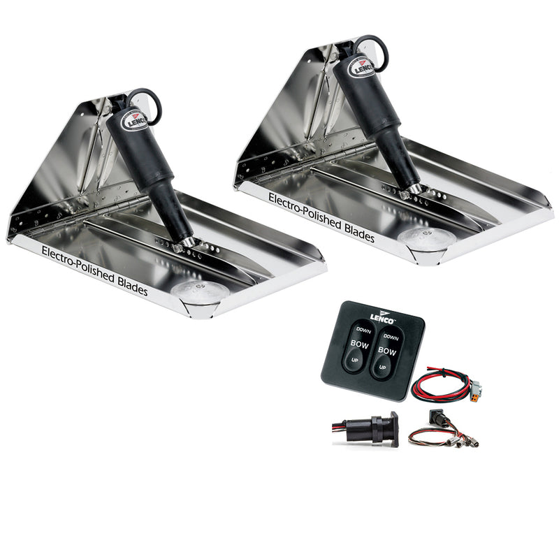 "Lenco 12"" x 12"" Heavy Duty Performance Trim Tab Kit w/Standard Tactile Switch Kit 12V"