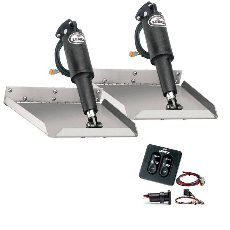 "Lenco 12"" x 12"" Edgemount Trim Tab Kit w/Standard Tactile Switch Kit 12V"