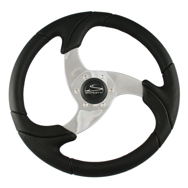 "Schmitt  Ongaro Folletto 14.2"" Black Poly Steering Wheel w/ Polished Spokes and Black Cap - Fits 3/4"" Tapered Shaft Helm"