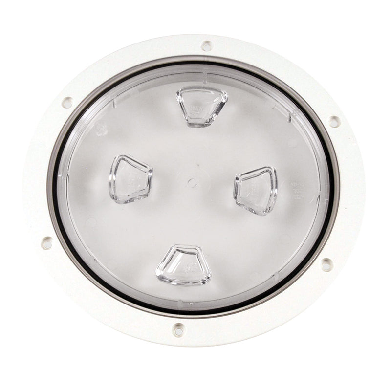 "Beckson 8"" Clear Center Screw-Out Deck Plate - White"