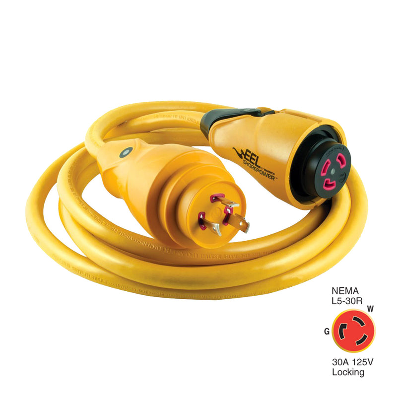 Marinco CS30-12 EEL 30A 125V Shore Power Cordset - 12' - Yellow