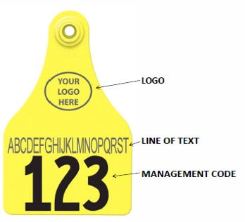 CattleTags example tag with management code, logo, text