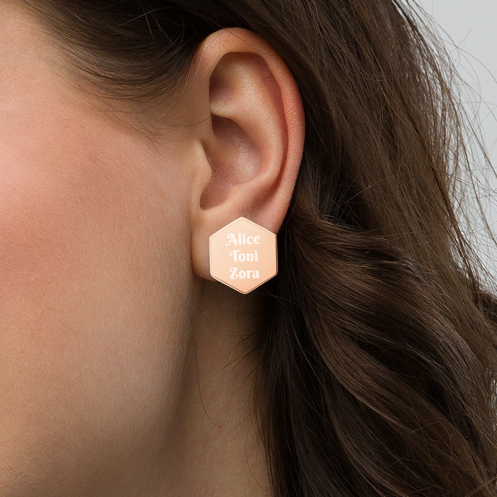 In Your Ear Sterling Silver Hexagon Stud Earrings