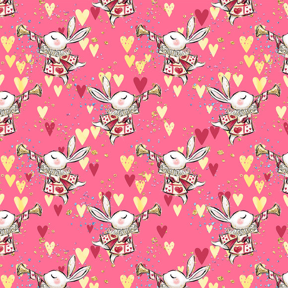 Alice In wonderland Hearts Digital Custom Print Fabric