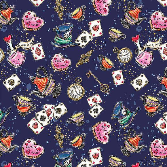 Alice In wonderland Navy Digital Custom Print Fabric