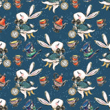 Alice In wonderland Teal Digital Custom Print Fabric