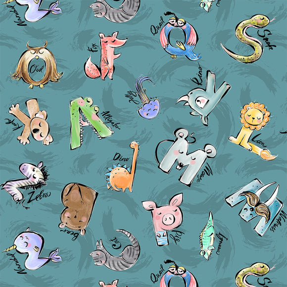 Animal Alphabet Digital Custom Print Fabric