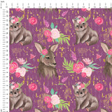 Australian Wildlife Purple Digital Custom Print Fabric
