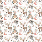 Boho White Digital Custom Print Fabric