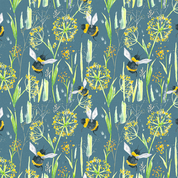 Bees Meadow Digital Custom Print Fabric