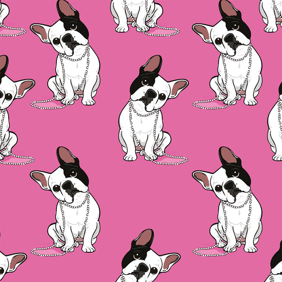 Bulldogs Pink Digital Custom Print Fabric
