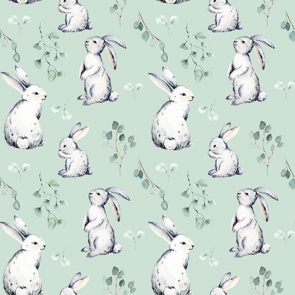 Mint Bunnies Digital Custom Print Fabric