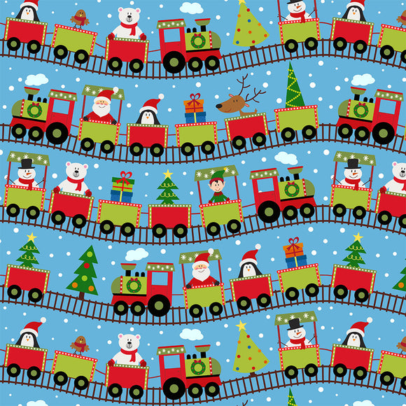 Christmas Train Digital Custom Print Fabric