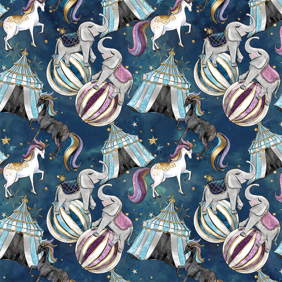 Circus Teal Digital Custom Print Fabric