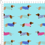 Dachshund Digital Custom Print Fabric