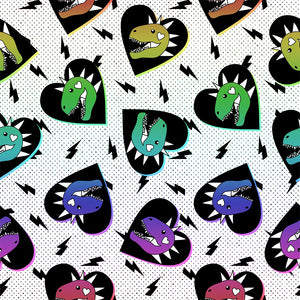 Dino Hearts Digital Custom Print Fabric