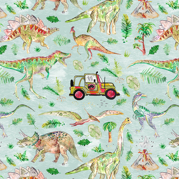 Dinosaur Adventure Digital Custom Print Fabric