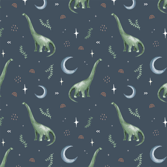 Dippy The Dino Grey Digital Custom Print Fabric