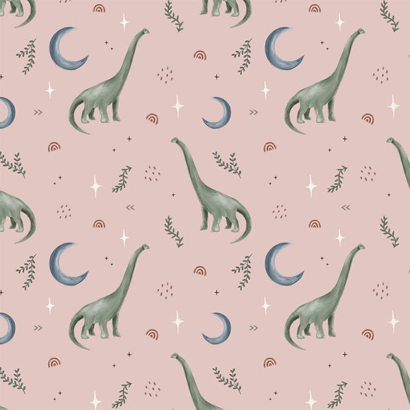 Dippy The Dino Blush Digital Custom Print Fabric
