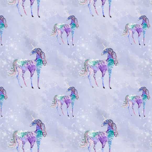Unicorns Grey Digital Custom Print Fabric
