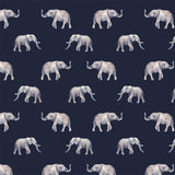 Elephants Navy Digital Custom Print Fabric