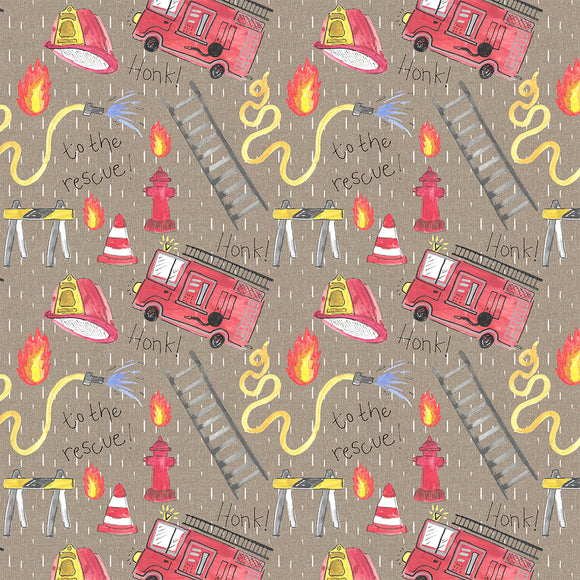 Fire Rescue Beige Digital Custom Print Fabric