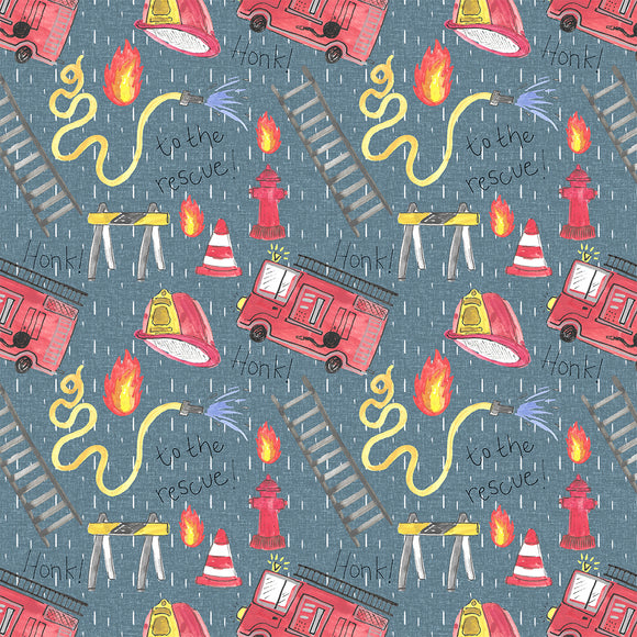 Fire Rescue Blue Digital Custom Print Fabric