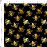 Bees Black Digital Custom Print Fabric
