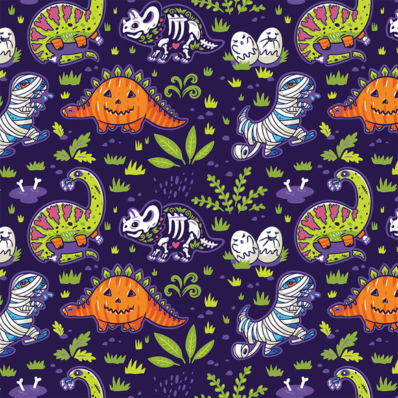 Halloween Dinos Digital Custom Print Fabric